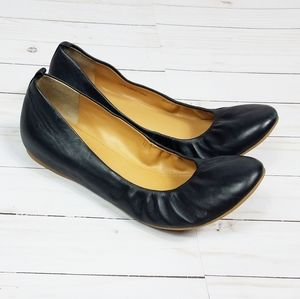 J. Crew Wedge Elastic Leather Flats | Black